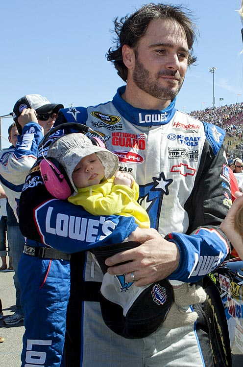 "The defending four-time series champion became a father in July when wife Chandra gave birth to Genevieve Marie. We all hope the Chevrolet-driving Johnson didn't realize until later that his daughter's initials were ""GM."""
