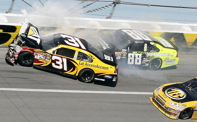 Dale Earnhardt Jr. and Jeff Burton crash on Turn 4 of Lap 133. Prior to the wreck, Earnhardt Jr, had led six times during the race.