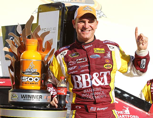 AFter 87 lead changes, a wreck and a photo finish, Clint Bowyer managed to roll into Victory Lane.