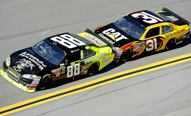Dale Earnhardt Jr. gets a push by Jeff Burton during the AMP Energy Juice 500. However the added push did little to improve Junior's day as the No. 88 finished 39th.