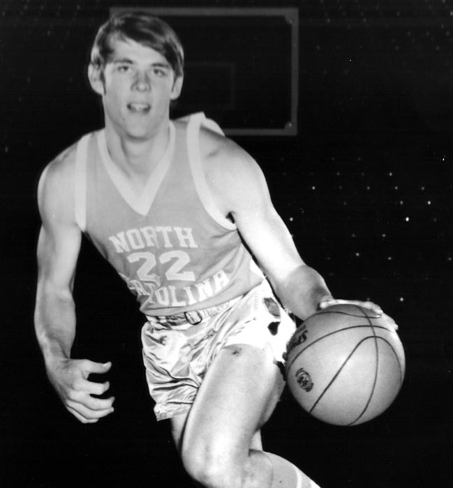 A young George Karl showcases his dribbling skills as a member of Dean Smith's North Carolina Tar Heels in the early 1970s.  He joined the ABA's San Antonio Spurs upon graduation, where he played all five seasons in his short professional career.