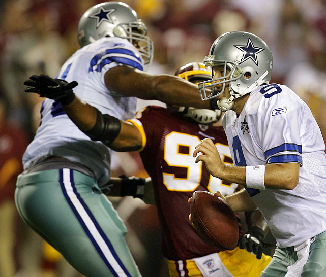 Tony Romo's completion with Roy Williams in the front of the end zone seemed to cement a dramatic Dallas victory over the Redskins on Sept. 12.  The Cowboys' celebration was held up by tackle Alex Barron though, whose chokehold grip on Washington's Brian Orakpo cost Dallas the touchdown, and the game, in Week 1.