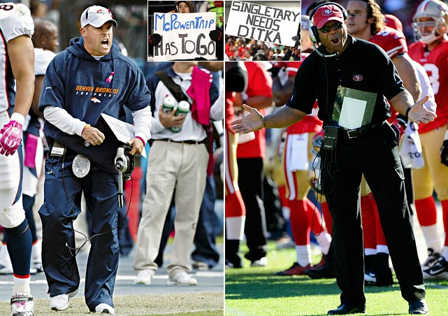 Josh McDaniels and Mike Singletary became the third and fourth coaches fired in-season, followed by the dismissals of Tom Cable, John Fox and Eric Mangini at year's end. McDaniels' teams lost 17 of 22 games after starting the 2009 season 6-0. He also drew the ire of Broncos owner Pat Bowlen, and a $50,000 fine from the league, for not revealing that an aide had taped an opponent's practice session. Singletary was let go after his underachieving 49ers were eliminated from playoff contention. It didn't help that he got into an ugly sideline argument with quarterback Troy Smith near season's end.