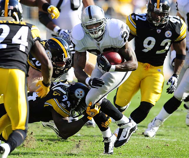 Ten rushes for 14 yards; Two receptions for 16 yards in 35-3 loss to the Steelers.