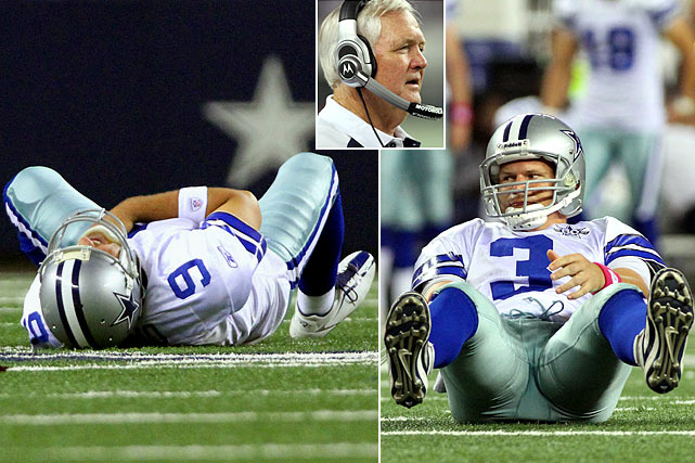 Dallas' downward spiral plunged to new depths in Week 7 as Tony Romo suffered a broken clavicle after being sacked by a streaking Michael Boley.  Jon Kitna, who hadn't started an NFL game in two years, took over, coming up just short in the Cowboys' 41-35 defeat.  Wade Phillips' squad fell to 1-5 following the loss, and after falling to 1-7 following a humiliating 45-7 defeat in Green Bay Week 9, Phillips was fired and replaced by offensive coordinator Jason Garrett.