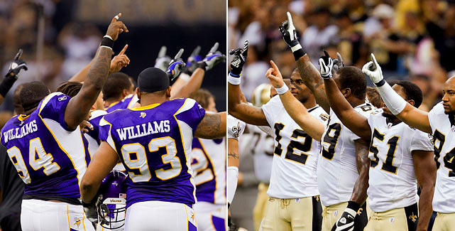 Players from the Saints and Vikings raised one index finger high into the air before the NFL's kickoff game Sept. 9 in New Orleans.  Going into the final year of the NFL's Collective Bargaining Agreement, the players used the gesture as a symbol of union solidarity in their negotiations with ownership.