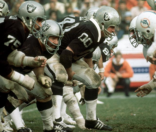 Jim Otto spent 15 seasons with the Raiders, where he established himself as one of the best centers in NFL history. He was a 10-time AFL All-Star selection  (1960-69) and a three-time Pro Bowl pick (1970-72). He was elected to the Pro Football Hall of Fame in 1980 and still works for the Raiders in the department of special projects.