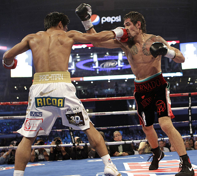 Pacquiao peppered Margarito's face with a variety of punches from all possible angles.
