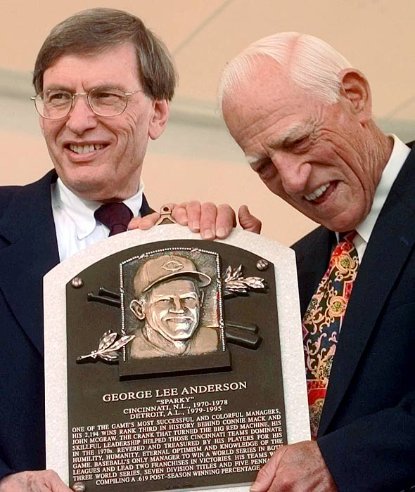 Anderson and Bud Selig pose with the manager's Hall of Fame plaque during induction ceremonies in Cooperstown, N.Y.