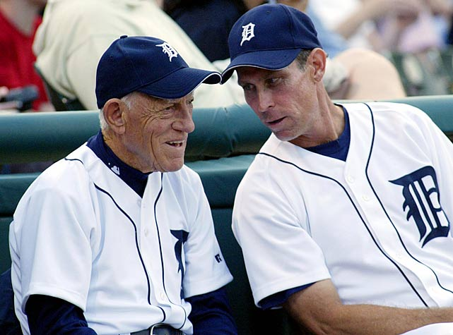 Anderson chats with Tigers manager Alan Trammell before a game in Montreal. Anderson managed the all-star shortstop for 17 seasons in Detroit.