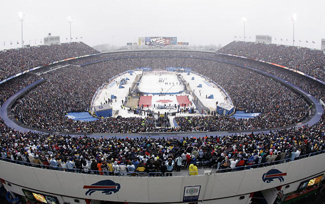 The Sabres and Penguins faced off in the NHL's first Winter Classic at Ralph Wilson Stadium in Buffalo on Jan 1, 2008. The Penguins won the overtime shootout for a 2-1 victory in front of 71,217 fans.