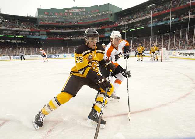 Over 39,000 fans piled into Boston's famous Fenway Park on a frigid 39-degree day for the Winter Classic between the Flyers and Bruins on Jan. 1, 2010. The hometown fans went home happy after Marco Sturm knocked in the game-winner to give Boston a 2-1 overtime victory.