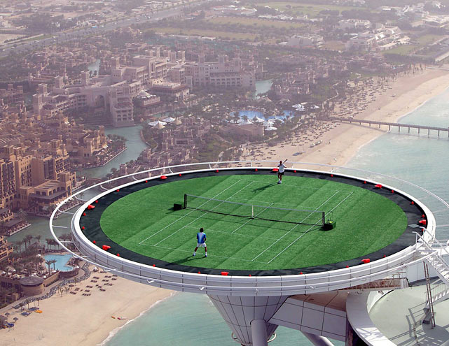 Andre Agassi and Roger Federer had many memorable outings, but none as unique as the their time atop the the Helipad of the Burj Al Arab in Dubai on Feb. 23, 2005. The court, which measures 321 meters (1,053 feet) high, is not recommended for anyone with Acrophobia.