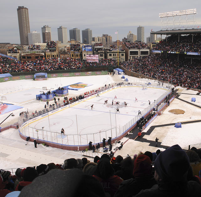 The Blackhawks and Red Wings battle in the NHL Winter Classic at Wrigley Field on Jan. 1, 2009. The Red Wings prevailed 6-4.