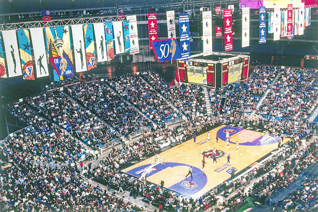 The Raptors called SkyDome home from their inaugural season of 1995 through 1999 before moving to the basketball-friendly Air Canada Centre.