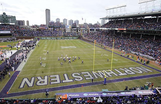 Northwestern and Illinois faced off in a college football game at Wrigley Field on Nov. 20, 2010. The game, which saw both teams heading toward the same end zone, ended with the Fighting Illini on top, 48-27.