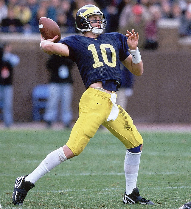 Brady struggled for playing time at Michigan. He redshirted his freshman year and played sparingly the next two seasons before breaking through his junior year with 2,636 passing yards and 15 touchdowns.