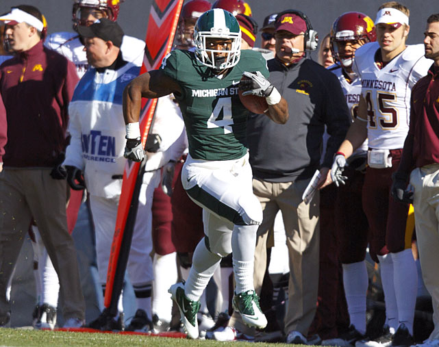 Michigan State had little trouble bouncing back from its first loss of the season thanks to a huge day from Edwin Baker, who ran for 179 yards and four touchdowns. Give the Spartans credit for gutsy play-calling: Two of Baker's scores came on fourth-down runs near the goal line.