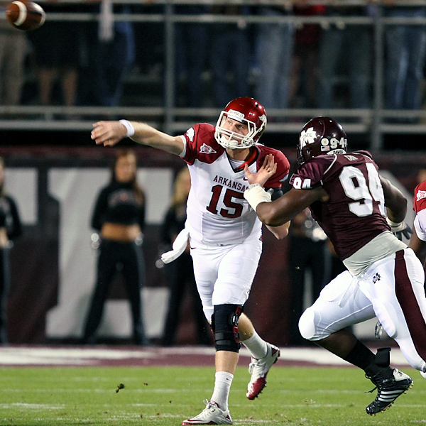 Ryan Mallett threw for 306 yards and three touchdowns, including the game-winner to Knile Davis in double overtime, to power the Razorbacks. The Bulldogs had a chance to tie the game in the second overtime, but Chris Relf was hit hard as he tried to complete a fourth-down pass. On top of his touchdown reception, Davis rushed for 191 yards and two scores as Arkansas (9-2 overall, 5-2 in the Southeastern Conference) won its fifth straight.