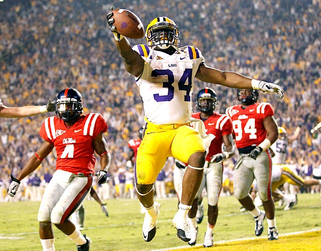 Jordan Jefferson delivered the best passing day of his career, but it wasn't all rosy for LSU. The Tigers trailed 36-35 with 4:57 remaining and surrendered 420 yards and 36 points to a four-win Ole Miss team. Stevan Ridley scored the game-winner for LSU and the Tigers sealed the victory on a Patrick Peterson interception.