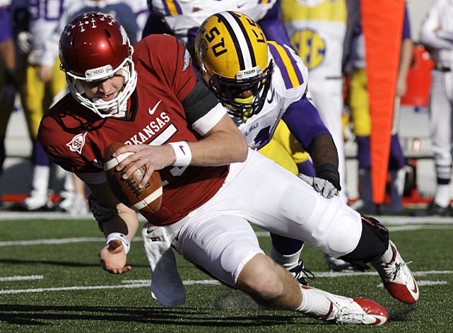 This one was not as close as the score indicated. Ryan Mallett passed for 320 yards and three touchdowns and Arkansas (10-2, 6-2 SEC) outgained LSU (10-2, 6-2) 464 yards to 294. The Tigers were in line to earn a BCS at-large berth, but that's now a more likely possibility for the Razorbacks, who finished second in the loaded SEC West.