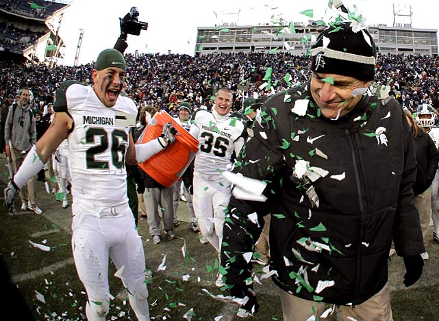 Michigan State wrapped up an 11-1 season and its first share of the Big Ten title since 1990 by beating Penn State, but it may not be good enough to make the BCS. What's more, getting that 11th win wasn't easy. The Nittany Lions (7-5, 4-4 Big Ten) scored 19 fourth-quarter points, but failed to recover an on-side kick in the final minute. Regardless of their ultimate BCS fate, the Spartans can relish their first win in Happy Valley since 1965.