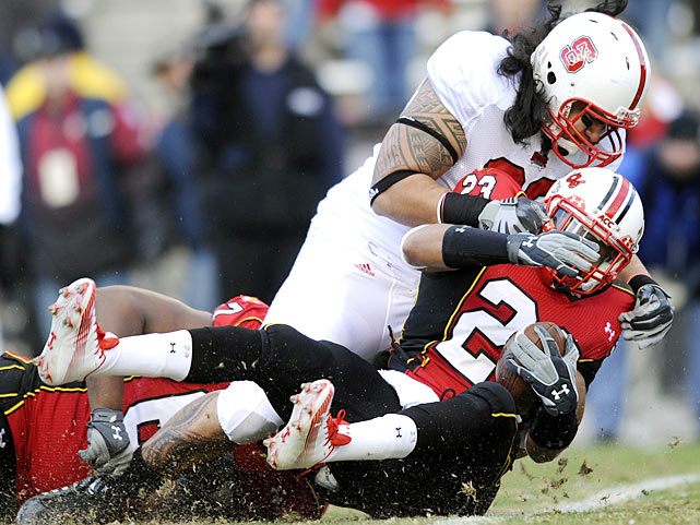 Maryland came up short of the ACC Atlantic title, but the Terps managed to spoil NC State's divisional bid. Danny O'Brien threw for a career-high 417 yards and four touchdowns, all to speedy receiver Torrey Smith, and Maryland (8-4, 5-3 ACC) outlasted NC State (8-4, 5-3), delivering the division to Florida State in the process.