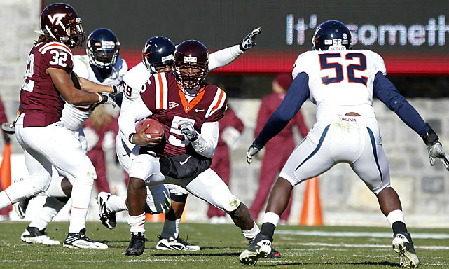 It was a rough start to the season for Virginia Tech, which opened with consecutive losses to Boise State and James Madison. But the Hokies (10-2, 8-0 ACC) have flipped the script, completing an undefeated ACC season by beating in-state rival Virginia (4-8, 1-7) on Saturday. Next week's appearance in the ACC Championship Game will be Virginia Tech's fourth in six seasons.