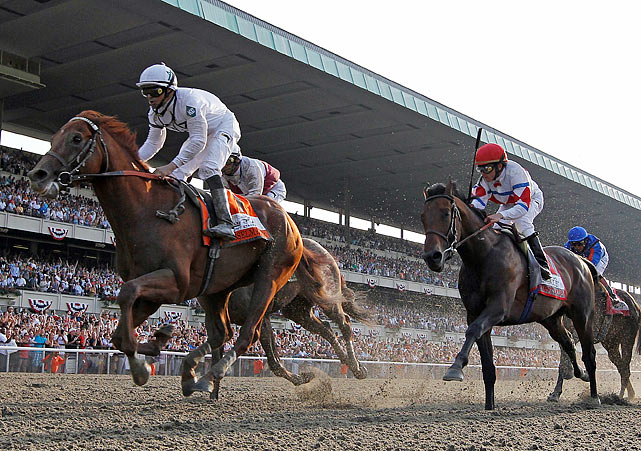 For the second time in four years, and only the third time since 1970, the third leg of thoroughbred racing's Triple Crown had neither the winner of the Kentucky Derby (Super Saver) nor the Preakness (Lookin at Lucky). Before an announced crowd of 45,243, the immortal Drosselmeyer, who had been excluded from the Derby for failing to win enough money, took the mile-and-a-half race.