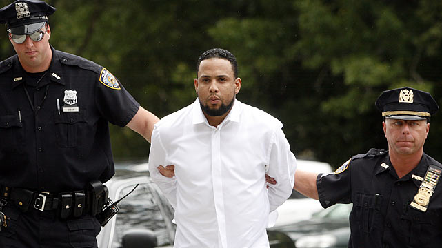 While his team wandered through yet another dreary season, the closer came off the spool on August 11 and tore a thumb ligament while attacking his girlfriend's father in the Mets' locker room after a loss. K-Rod was arrested, charged with third degree assault, second degree harassment and criminal contempt, and slapped with orders of protection that demanded he stay away from his girlfriend and her father. For good measure, the Mets suspended him without pay.