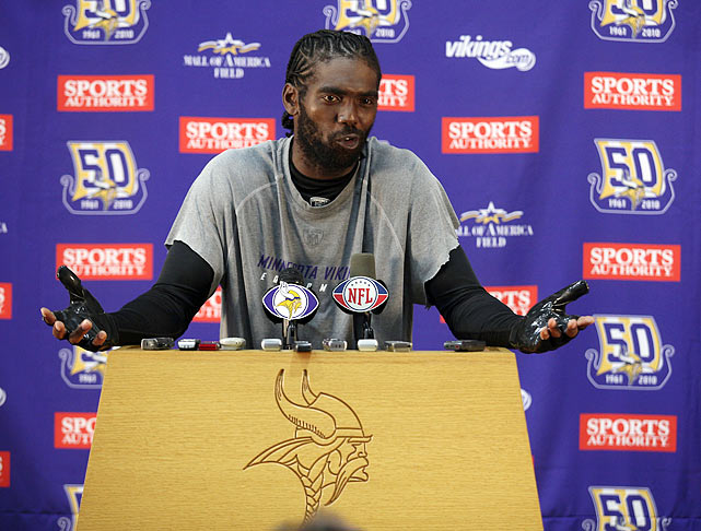 The loose cannon wideout, who was fined $25,000 by the NFL for failing to cooperate with the media, found himself with three NFL teams in the space of a month. He was traded by the Patriots to the Vikings on Oct. 8 for a 2011 third-round pick after voicing displeasure about his contract status, then waived by Minnesota on Nov. 1 after calling out their coaching staff and saying that he missed New England after a 28-18 loss to his former team in which he caught one pass for eight yards. The Tennessee Titans bravely claimed Moss and the final year of his $6.4 million base salary.