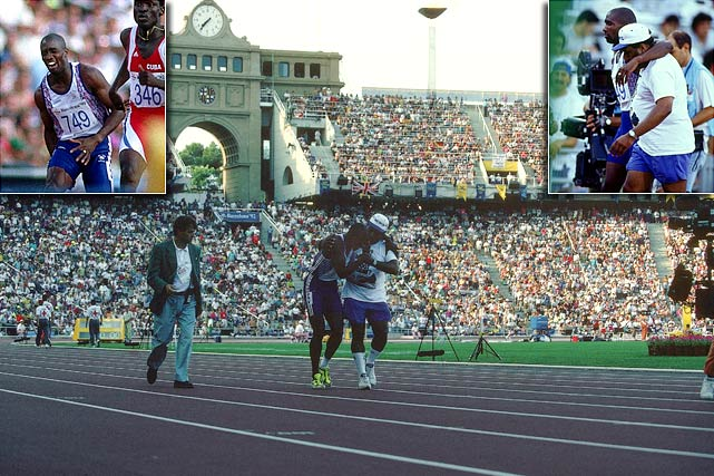 Derek Redmond's sprinting career was beset by injuries, the most well known occurring during the 1992 Olympic games in Barcelona. In the 400 meters semifinal, Redmond tore his hamstring, but was determined to finish the race. As Redmon hobbled toward the finish line, his father joined him on the track and helped him finish the race.