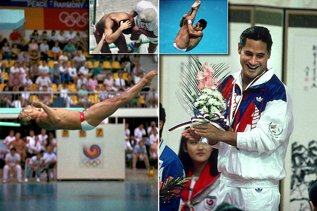 25 years ago, Greg Louganis suffered a concussion after hitting his head on the diving board while attempting a reverse 2 1/2 pike at the Seoul Olympics on Sept. 19, 1988. After receiving four stitches, Louganis found himself once again on the board, diving for the gold medal. Fearlessly, Louganis attempted the reverse 2 1/2 pike again, and nailed it en route to a gold medal.