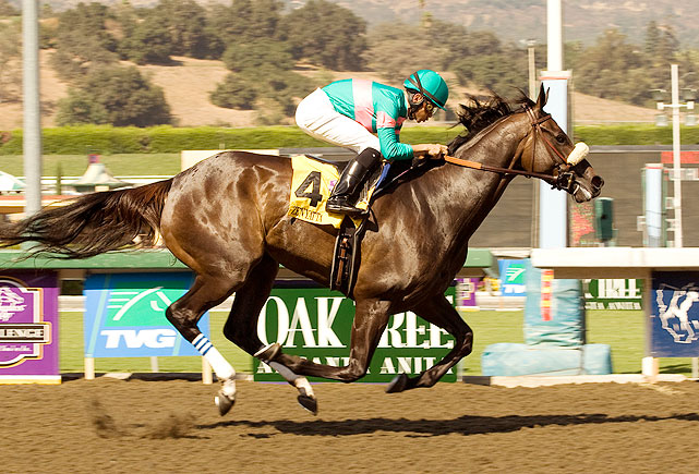 In September 2008, Zenyatta raced her fastest time to date at the Lady's Secret Stakes at Oak Tree at Santa Anita Park.  She finished the 1 1/16 miles course in 1:40.30, and won the race by 2 1/2 lengths.