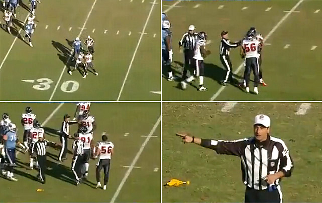 """A scuffle broke out late in the first half of the Titans' 31-17 win over the Texans on Dec. 19 ... between two teammates. Texans defensive end Antonio Smith ripped off linebacker Brian Cushing's helmet after Houston stopped Tennessee on third down. Cushing was penalized for unsportsmanlike conduct because his helmet came off, and that made Rob Bironas' subsequent field goal attempt much shorter (he made a 30-yarder). Anderson said later that, after his heated exchange with the Titans' Leroy Harris, Cushing came over to try to calm him down. """"I grabbed his facemask to pull him close to me so we could get eye-to-eye to say what I had to say, but then teammates came between us, and the helmet comes off, and it looks like a big ordeal,"""" Smith said."""