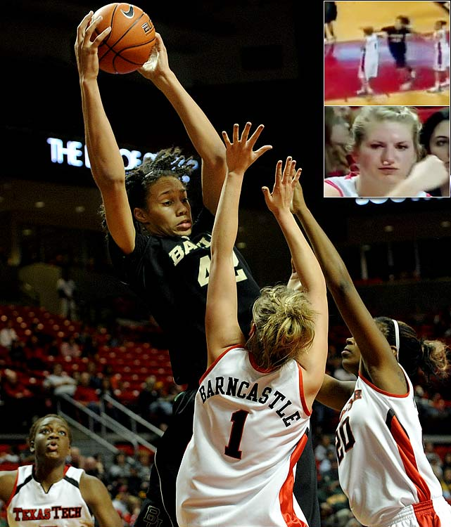 """Baylor star Brittney Griner was suspended for two games in March after throwing a punch at Texas Tech's Jordan Barncastle, who suffered a nasal fracture. """"There's no place for that in sports,"""" Baylor coach Kim Mulkey said. """"It was ugly for women's basketball. It was ugly that coaches were on the court, that benches cleared, and I will take care of that with my team."""""""
