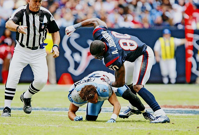 "Provoked by face-mask pushing by Titans cornerback Cortland Finnegan, Texans wide receiver Andre Johnson ripped Finnegan's helmet off, punching him two times. Finnegan then tore off Johnson's helmet before the refs finally restored order, and both players were fined $25,000. ""This is not hockey; this is the NFL,"" Finnegan said after the Nov. 29 game. ""It's crazy to me to see people condoning this like I got what I deserved."""