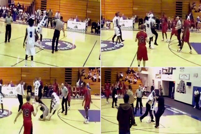 "In one of the more disturbing high school basketball scenes, Mason Holland of DeSoto High in Florida charged a referee and threw him to the ground after he had been ejected for shoving an opposing player. The clip of the December incident quickly went viral and has been viewed by thousands of people. Holland was suspended from school and banned from playing. ""It was totally unacceptable behavior,"" DeSoto coach Joe Sheridan said. ""It was everything we are not.''"