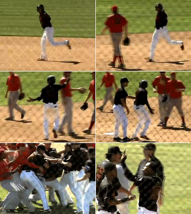 After hitting a walk-off home run for Single-A Bakersfield during a June game, Texas Rangers minor leaguer Engel Beltre openly taunted Visalia, pointing at the opposing players as he rounded the bases. Visalia players confronted him before he crossed home plate and a brawl ensued. After things quieted, Beltre stomped down on home plate and shouted a few more choice words.