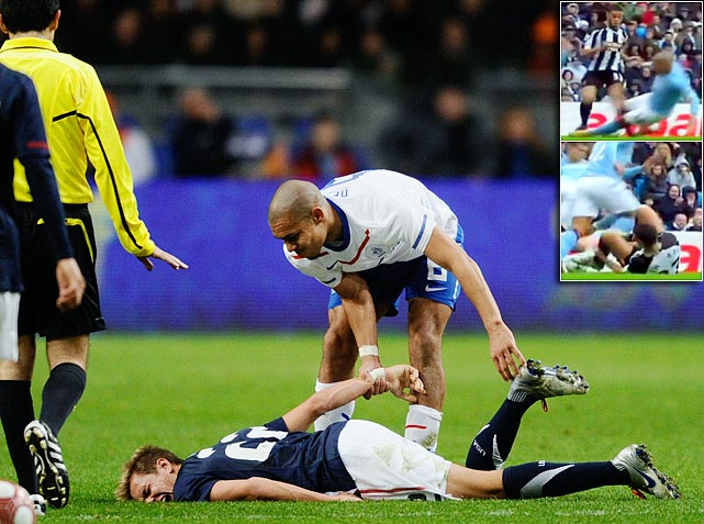Is Dutch international and Manchester City midfielder Nigel de Jong the dirtiest player in soccer? Well, he fractured the leg of Bolton Wanderers midfielder Stuart Holden during a friendly in March and flew into Newcastle's Hatem Ben Arfa in October with both feet, breaking both the tibia and fibula in the Frenchman's left leg.