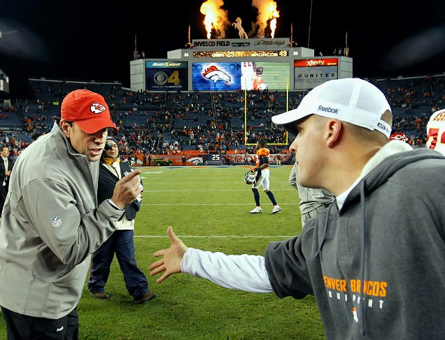 "After the Broncos' 49-29 victory against the Chiefs in Denver on Nov. 14, Kansas City coach Todd Haley refused to shake Josh McDaniels' hand, wagging his finger and scolding his counterpart. Haley later admitted what he did was ""not right."""