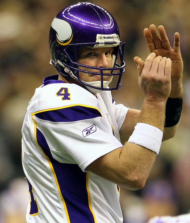 The NFL's only grandfather hit 40 midway through the 2009 season, just days after beating the Packers on  Monday Night Football  to become the first quarterback to beat each of the league's 32 franchises. He led the Vikings to the NFC title game, where they lost in overtime to the Saints, and finished third overall in Pro Bowl voting behind Peyton Manning and Drew Brees.