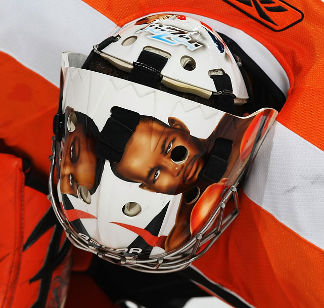 Philadelphia Flyers goaltender Ray Emery paid tribute to Hopkins with his helmet during a 2009 game against the St. Louis Blues.