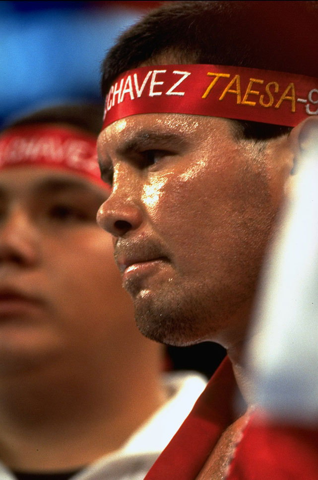 Considered the greatest fighter in Mexico's rich boxing history, Chavez captured world titles at super featherweight, lightweight and junior welterweight during a panoramic 25-year career. A relentless pressure fighter with devastating punching power and a granite chin, Chavez amassed a professional record of 89-0-1 before losing the 140-pound championship to Frankie Randall in 1994, subsequently reclaiming the title in a rematch. He retired in 2005 with a professional record of 107-6-2 with 88 knockouts.