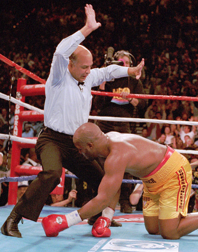 The New York City native has officiated more than 160 world title bouts, succeeding Richard Steele and Mills Lane as one of the most visible referees in the sport. His most famous assignments have included George Foreman's knockout of Michael Moorer to regain the heavyweight title (pictured) and the first Oscar De La Hoya-Julio Cesar Chavez fight.