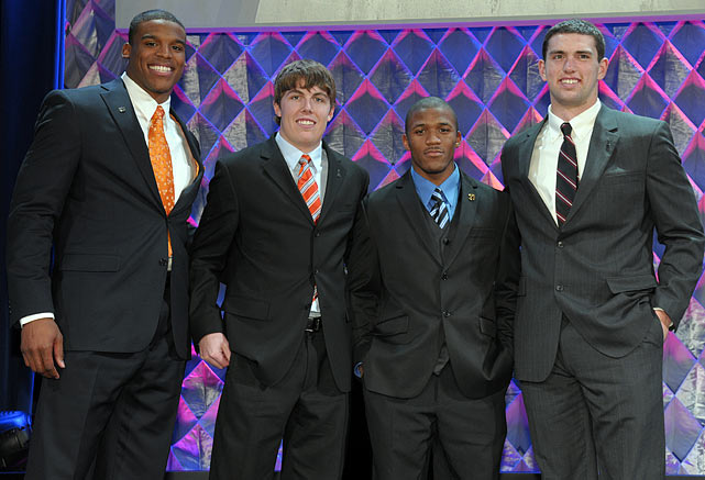 Newton poses with the other four Heisman Trophy finalists -- Boise State quarterback Kellen Moore, Oregon running back LaMichael James and Stanford quarterback Andrew Luck -- at the Home Depot ESPNU College Football show.