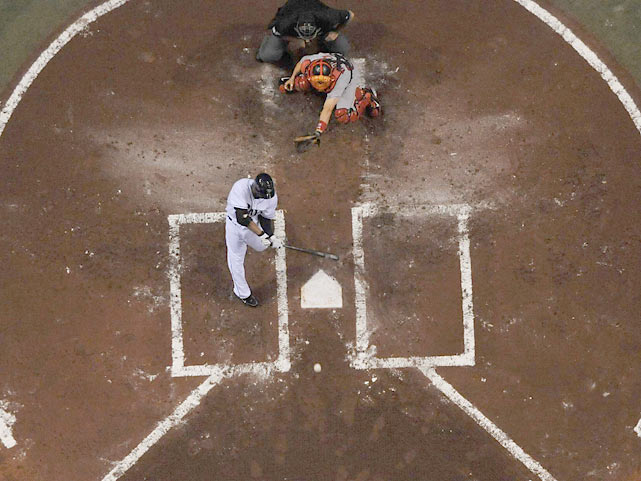 An aerial view of a Crawford at-bat against the Red Sox. Over the past three seasons, Crawford batted .301 against Boston, with four home runs, 22 RBI and 23 stolen bases.