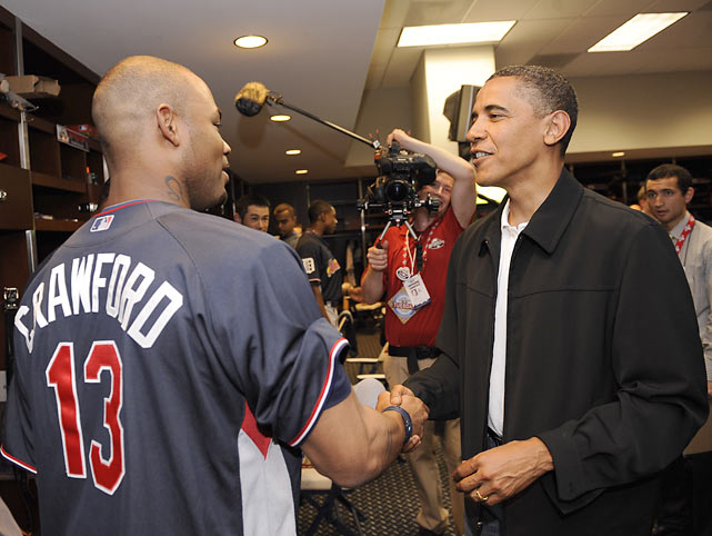 Crawford greets President Barack Obama before the All-Star game in Chicago.