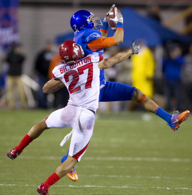 After a disappointing loss to Nevada forced No. 10 Boise State to fall just short of the Rose Bowl, the Broncos bounced back to record a near-shutout victory over No. 20 Utah. Heisman nominee Kellen Moore completed 28 of 38 passes for 339 yards and two touchdowns and wide receiver Austin Pettis (left) caught 12 passes (including one from himself) for 147 yards and a score.