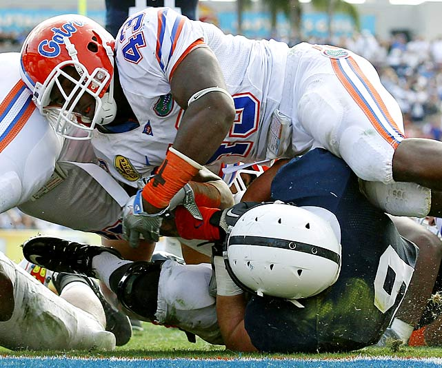 Florida sent Urban Meyer out in style. The Gators got rushing touchdowns from Omarius Hines and Mike Gillislee, three second-half field goals from Chas Henry and an 80-yard interception return from Ahmad Black -- one of five Florida picks of Penn State quarterback Matt McGloin. This was Meyer's last game before retirement; Penn State's Joe Paterno vows he'll return next season.